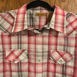 Wrangler Pink Gray Plaid Western Shirt With Pearl